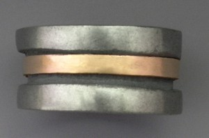 Steel and bronze ring