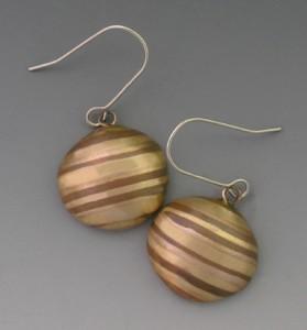 Striped dome earrings