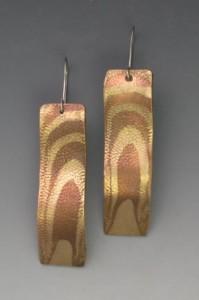 Woodgrain rectangular earrings