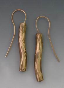 Woodgrain tube Earrings
